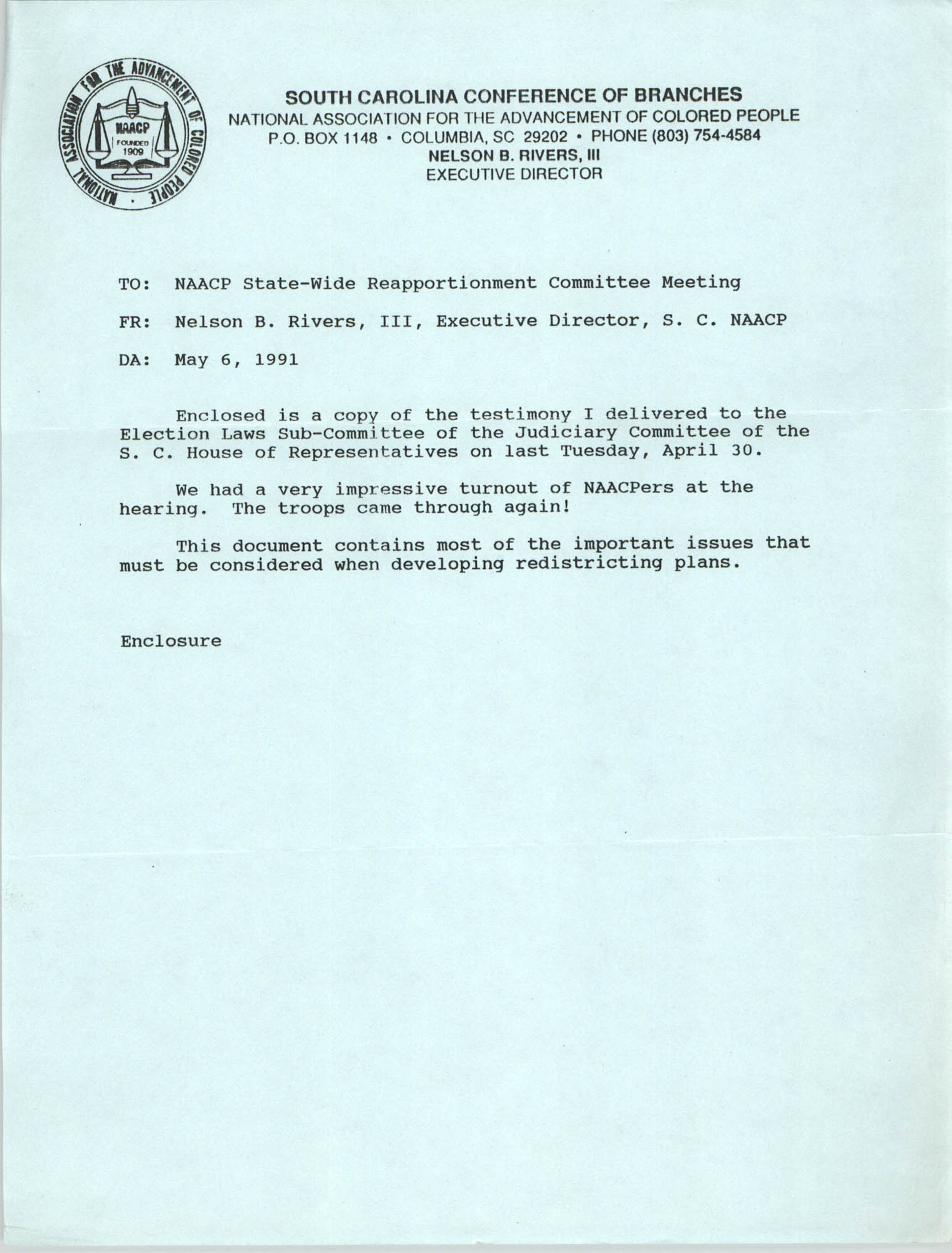 South Carolina Conference of Branches of the NAACP Memorandum, May 6, 1991