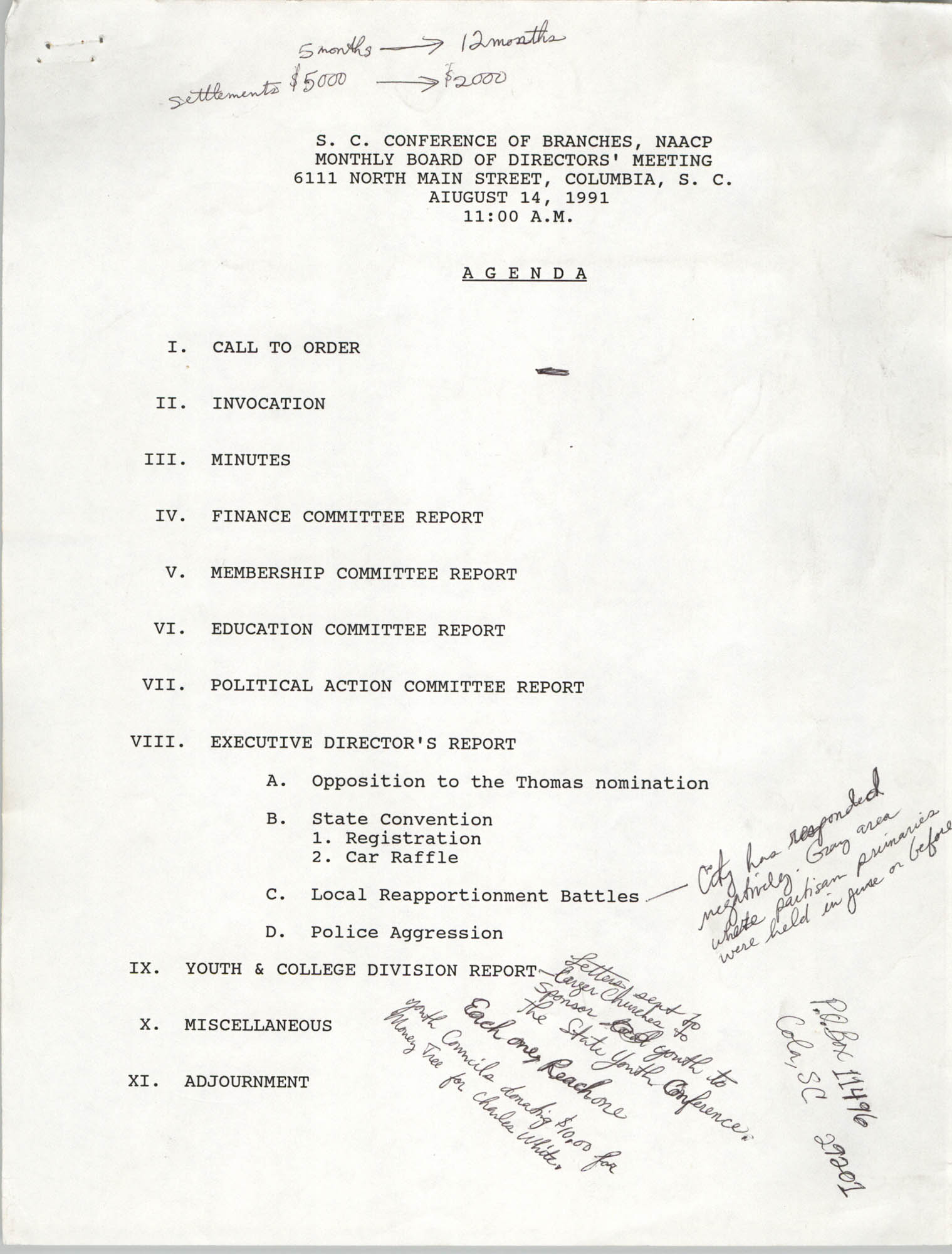 Agenda, South Carolina Conference of Branches of the NAACP, August 14, 1991