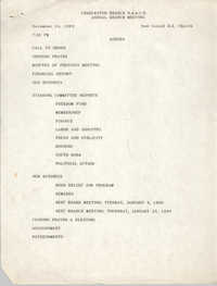 Agenda, Charleston Branch of the NAACP, Annual Branch Meeting, December 14, 1989