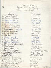 Sign-in Sheet, Charleston Branch of the NAACP, Executive Board Meeting, December 15, 1988