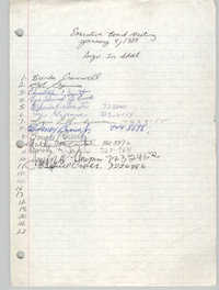 Sign-in Sheet, Charleston Branch of the NAACP, Executive Board Meeting, January 4, 1989