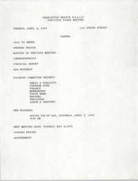 Agenda, Charleston Branch of the NAACP, Executive Board Meeting, April 4, 1989