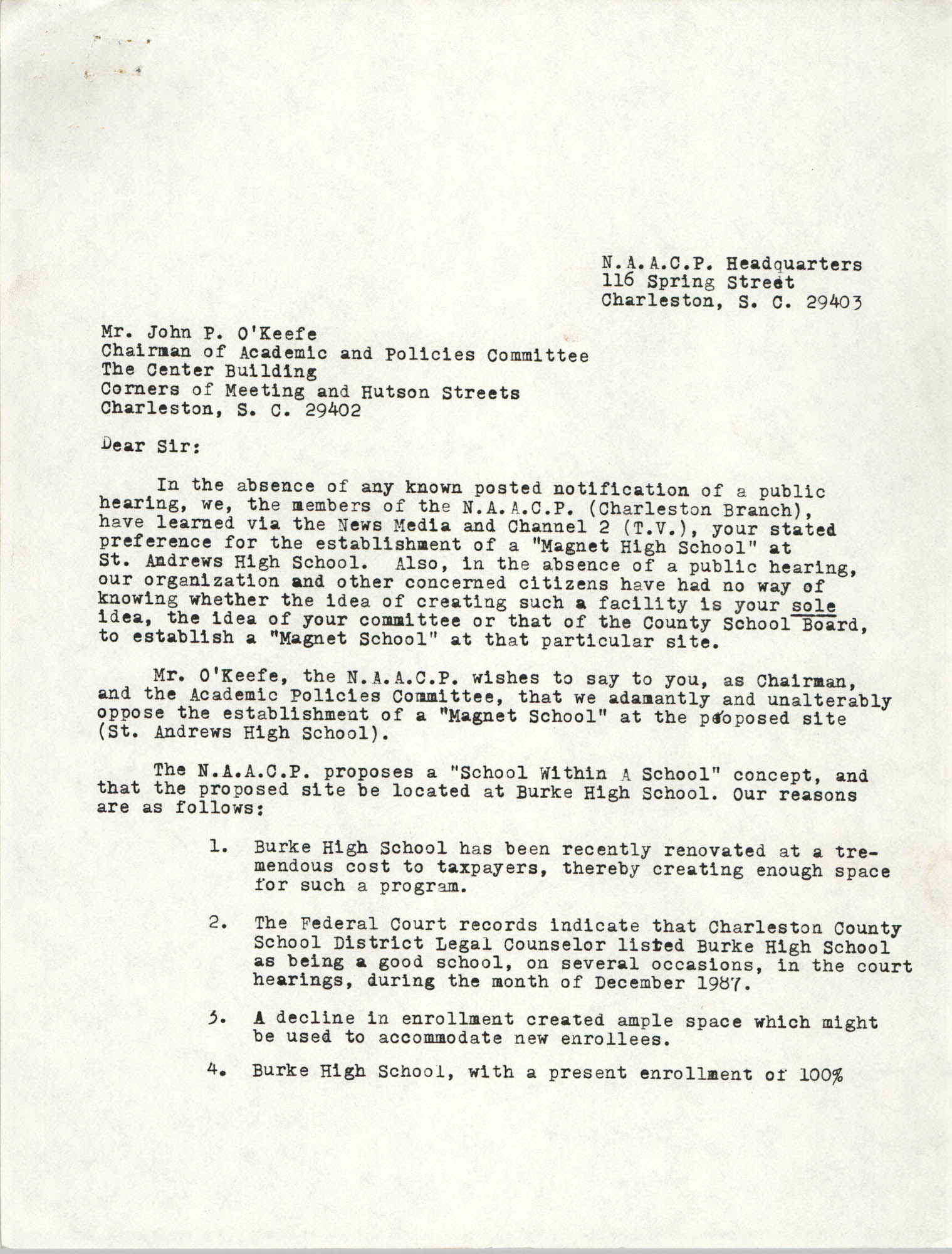 Letter from Joseph G. Thompson and William A. Glover to John P. O'Keefe, 1988