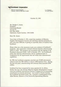 Letter from E. A. Thompson to Dwight C. James, October 23, 1991