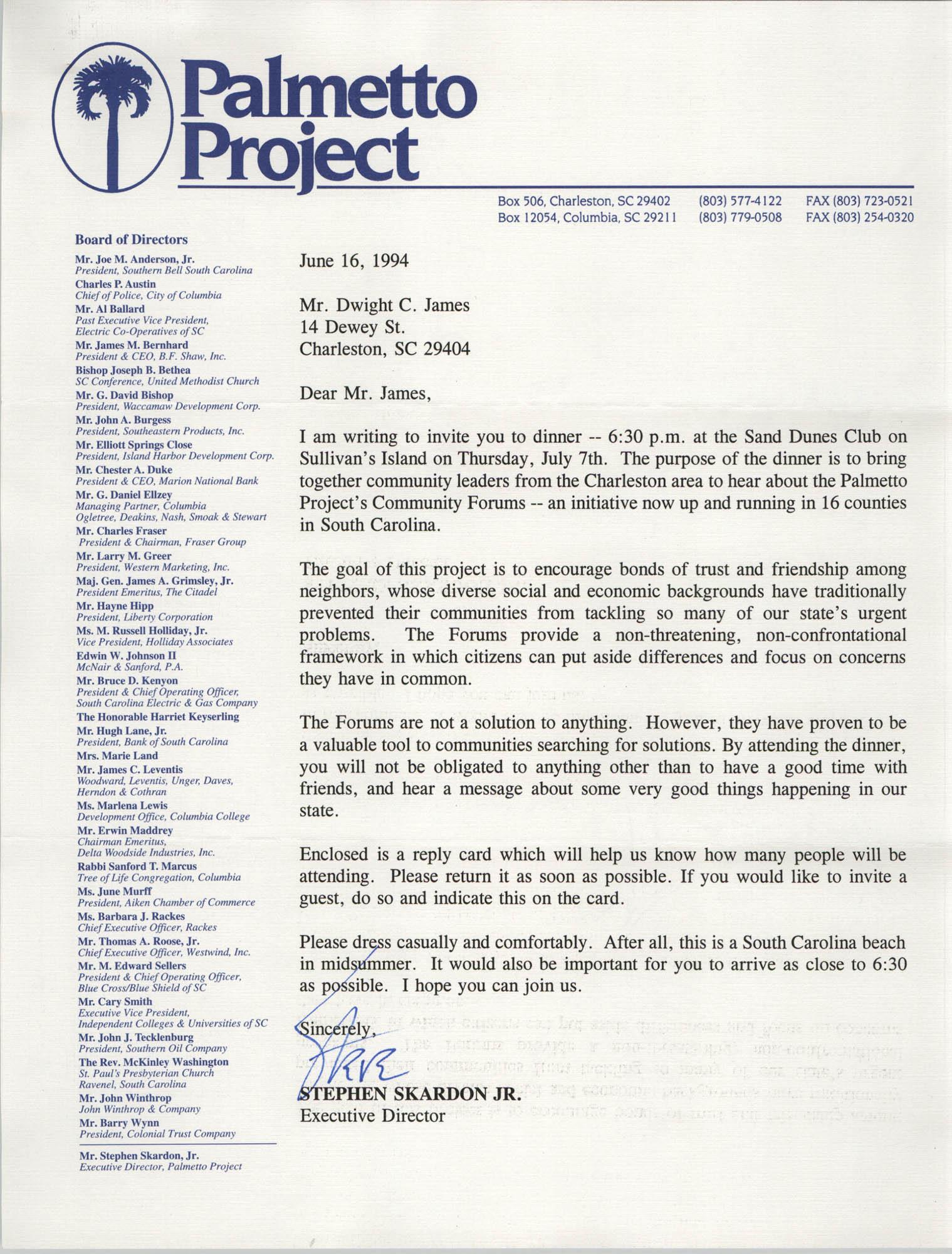 Letter from Stephen Skardon Jr. to Dwight C. James, June 16, 1994