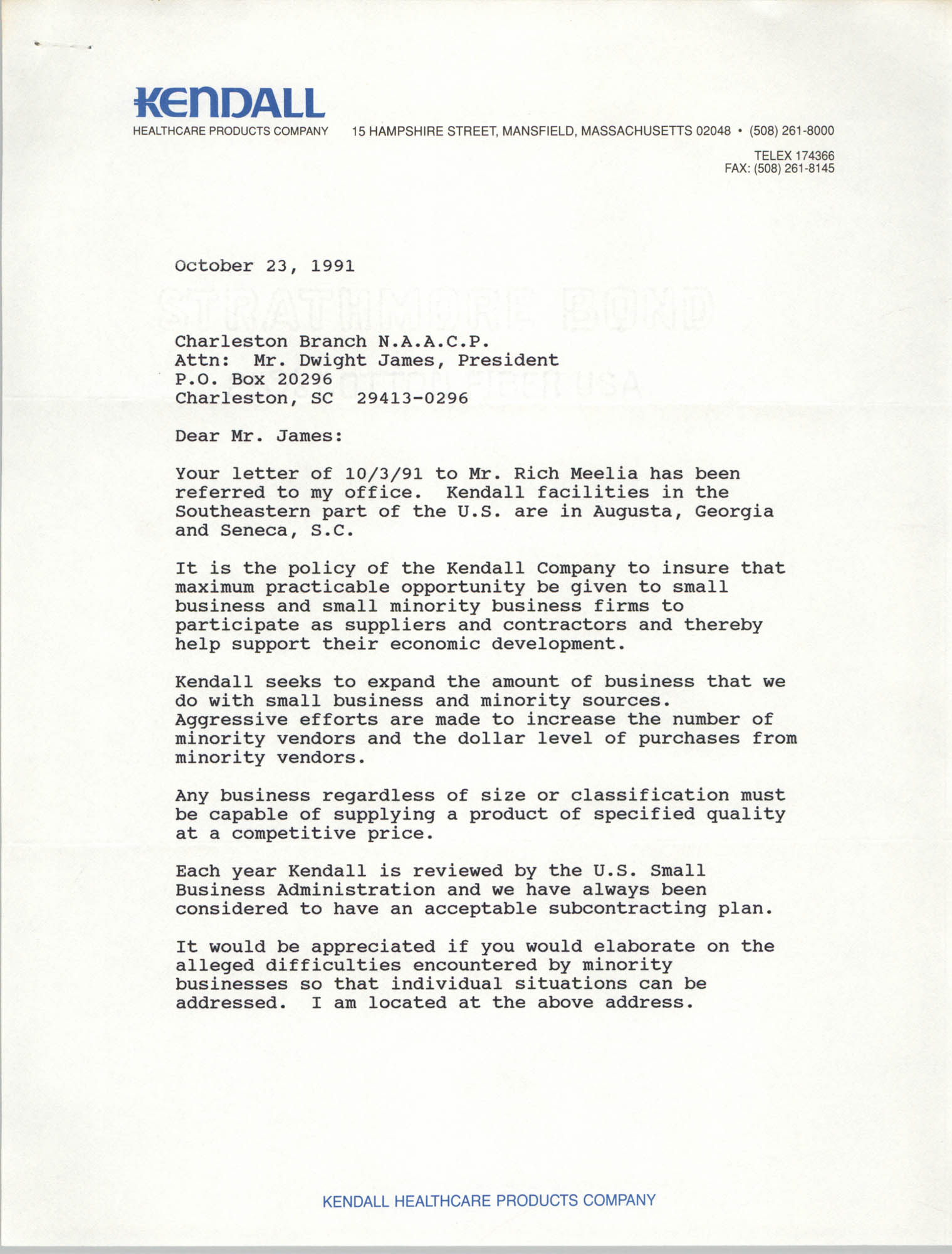 Letter from Heu Sherrerd to Dwight James, October 23, 1991