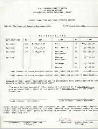 C. O. Federal Credit Union, Credit Committee and Loan Officer Report, April 20, 1991