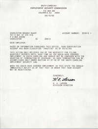 Letter from H. A. Larson to Charleston Branch of the NAACP, September 15, 1993