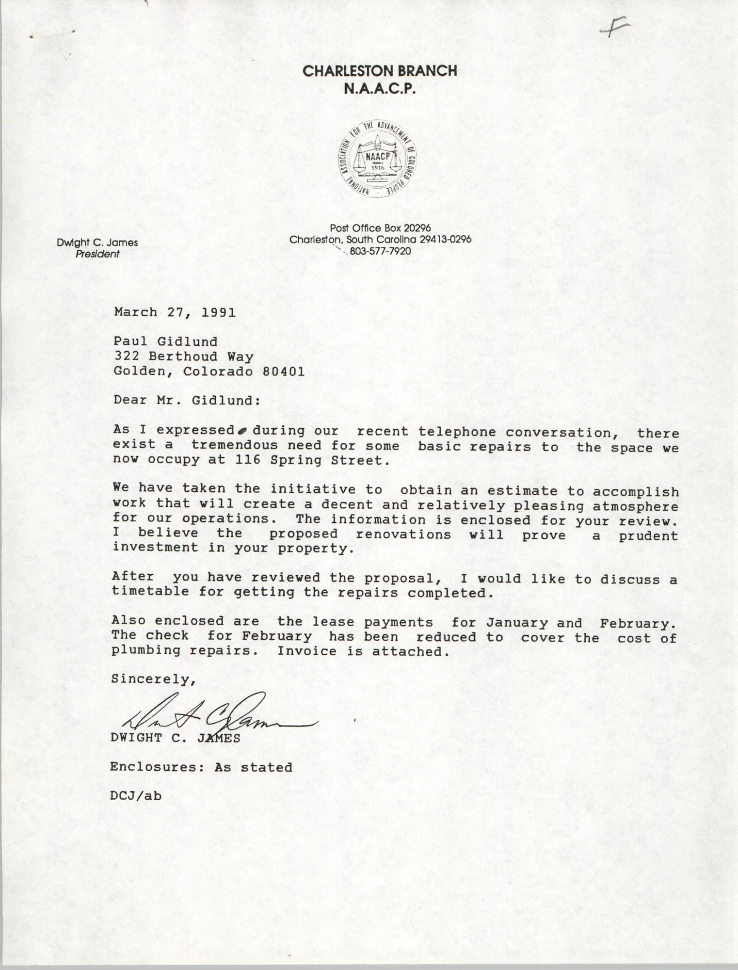 Letter from Dwight C. James to Paul Gidlund, March 27, 1991