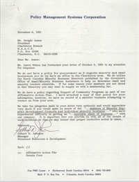 Letter from Gilbert D. Johnson to Dwight James, November 6, 1991
