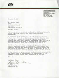 Letter from Ray LaMacchia to Dwight James, November 6, 1991