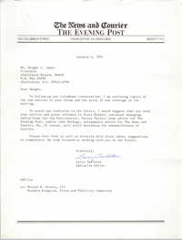 Letter from Larry Tarleton to Dwight C. James, January 4, 1991