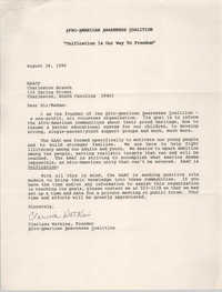 Letter from Clarissa Watkins to Charleston Chapter of the NAACP, August 28, 1990