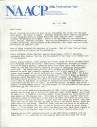 Letter from Benjamin L. Hooks to NAACP Friends, April 24, 1989