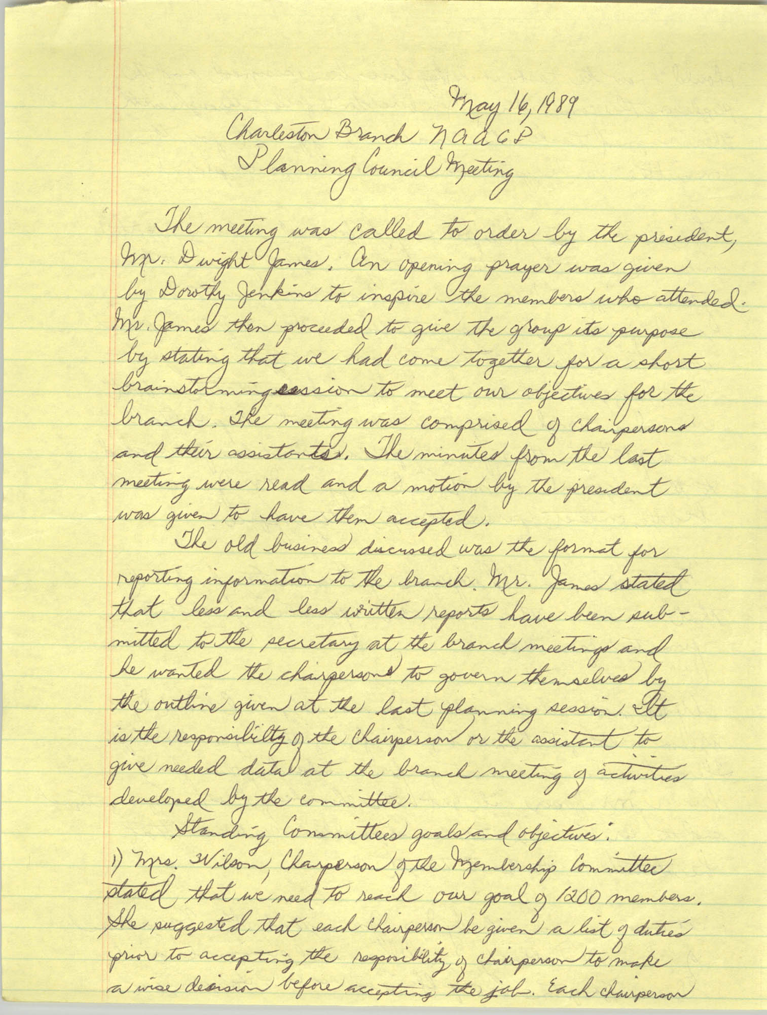 Minutes, Charleston Branch of the NAACP, Planning Council Meeting, May 16, 1989