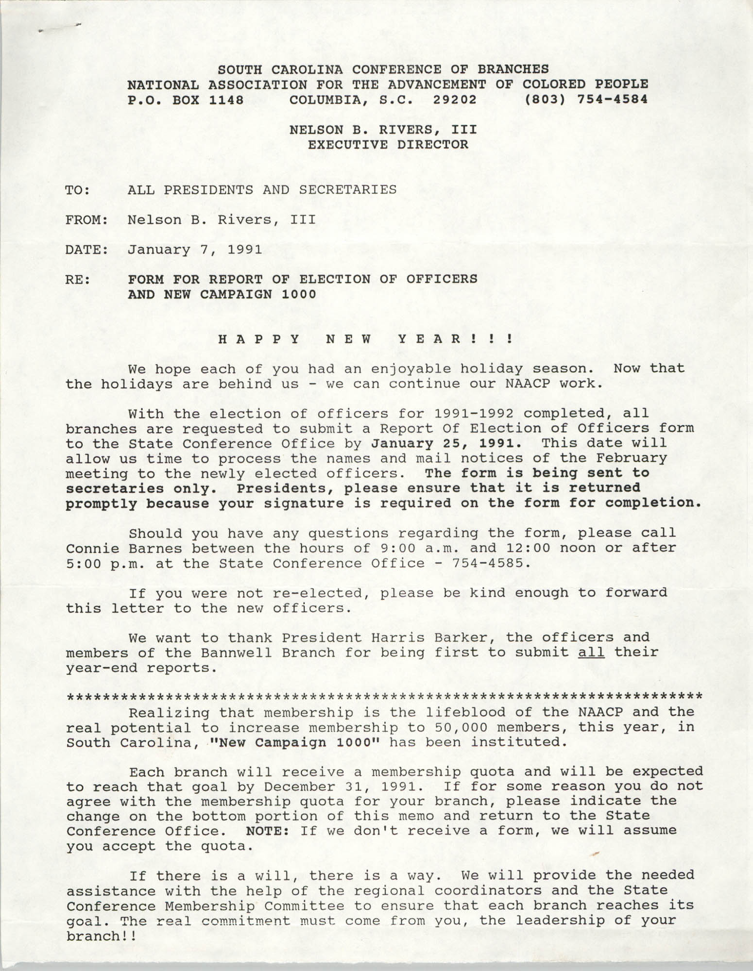 South Carolina Conference of Branches of the NAACP Memorandum, January 7, 1991