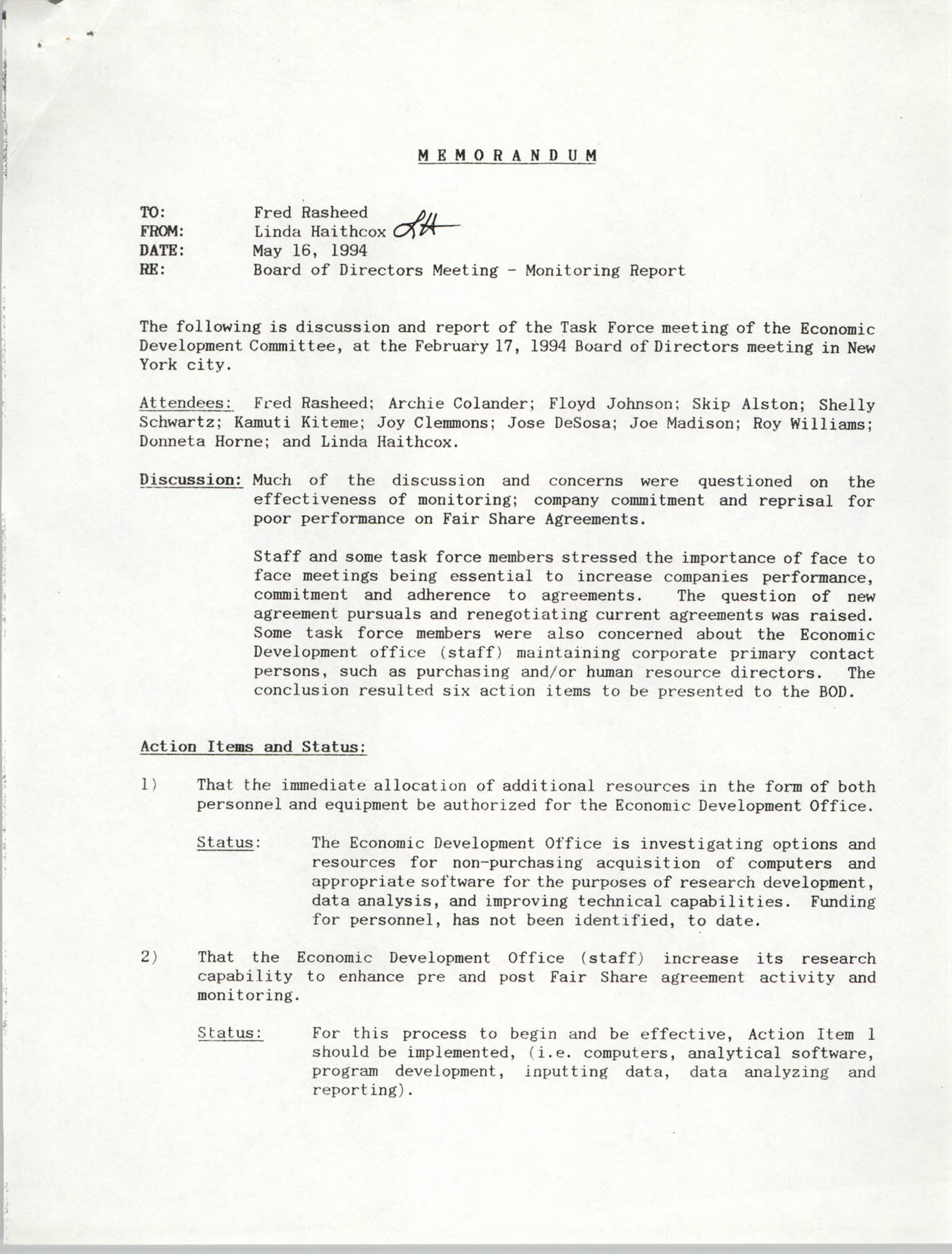 Economic Development Committee Memorandum, May 16, 1994
