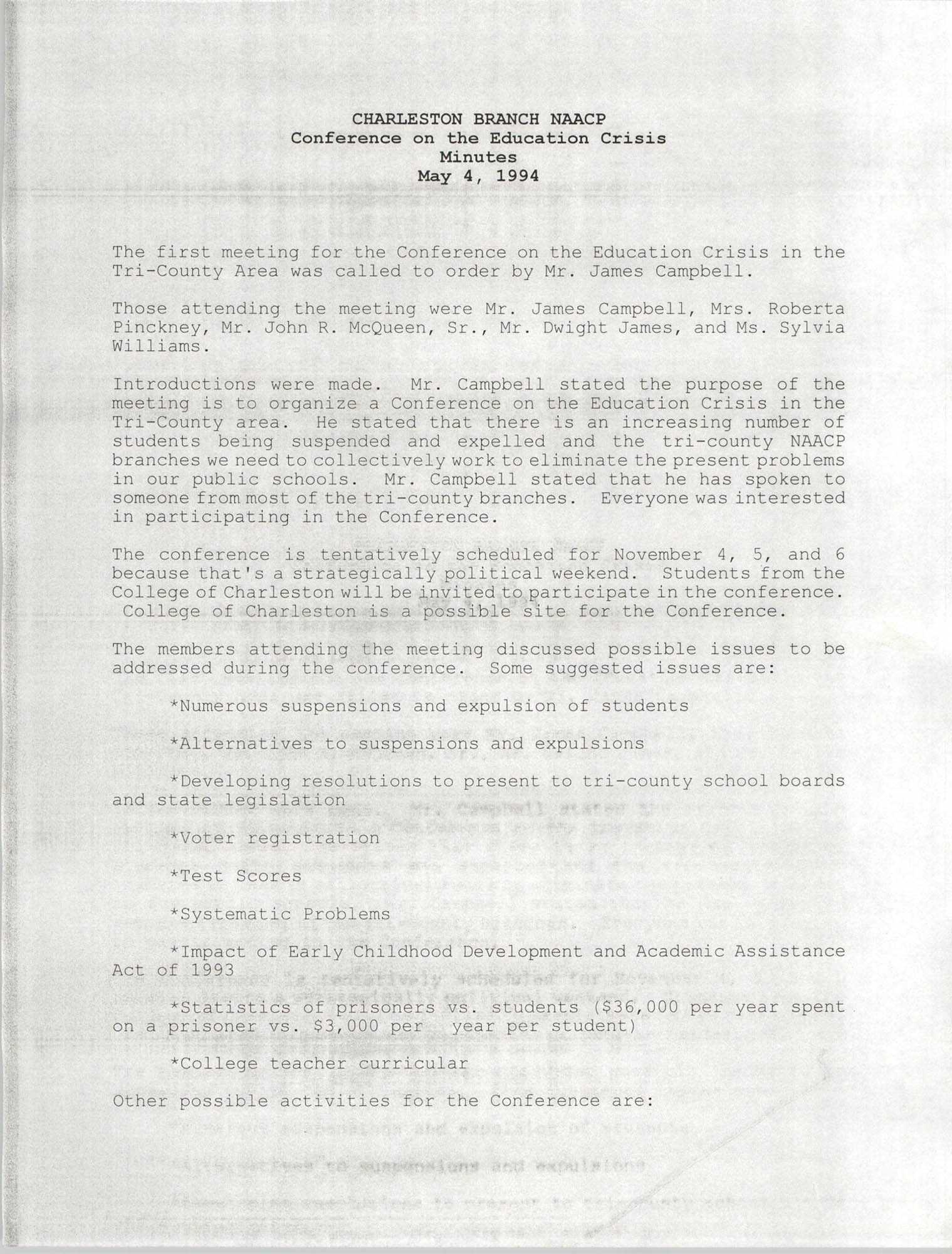 Charleston Branch of the NAACP Conference of the Education Crisis Minutes, May 4, 1994