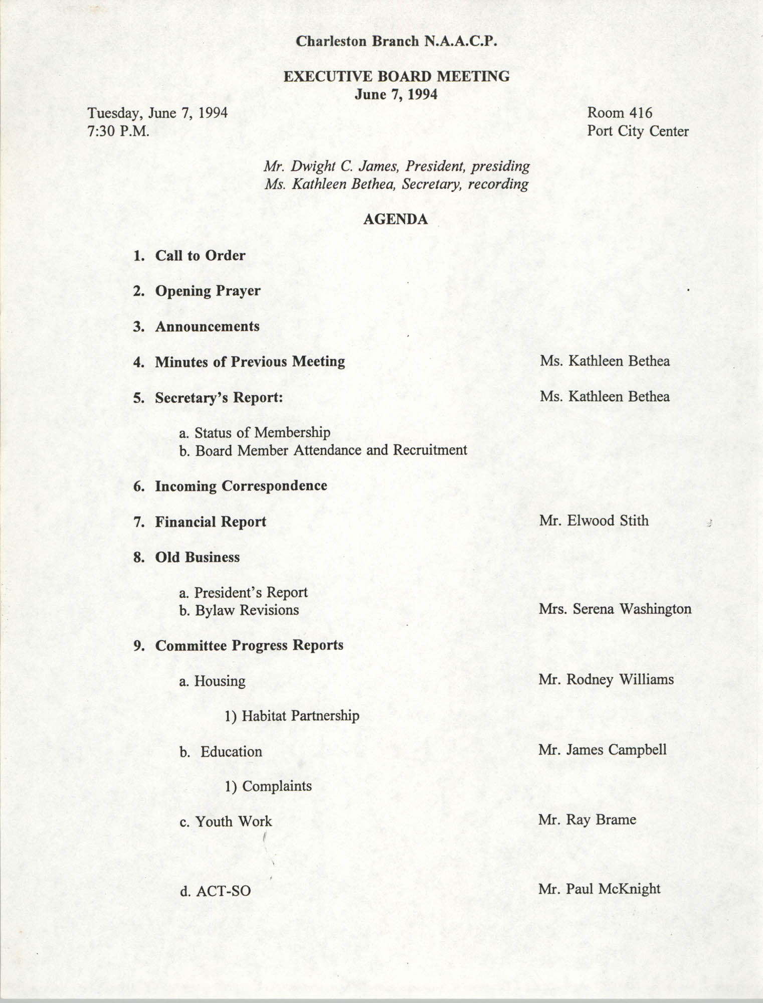 Agenda, Charleston Branch of the NAACP Branch, Executive Board Meeting, June 7, 1994