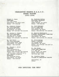 Charleston Branch of the NAACP Board Roster for 1993-1994