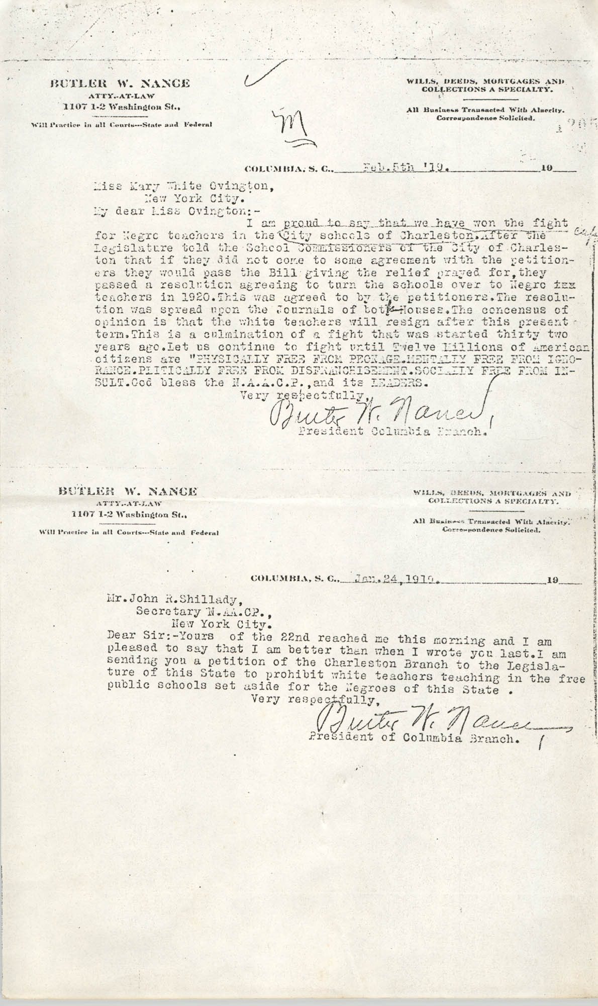Butler W. Nance Correspondence, 1919