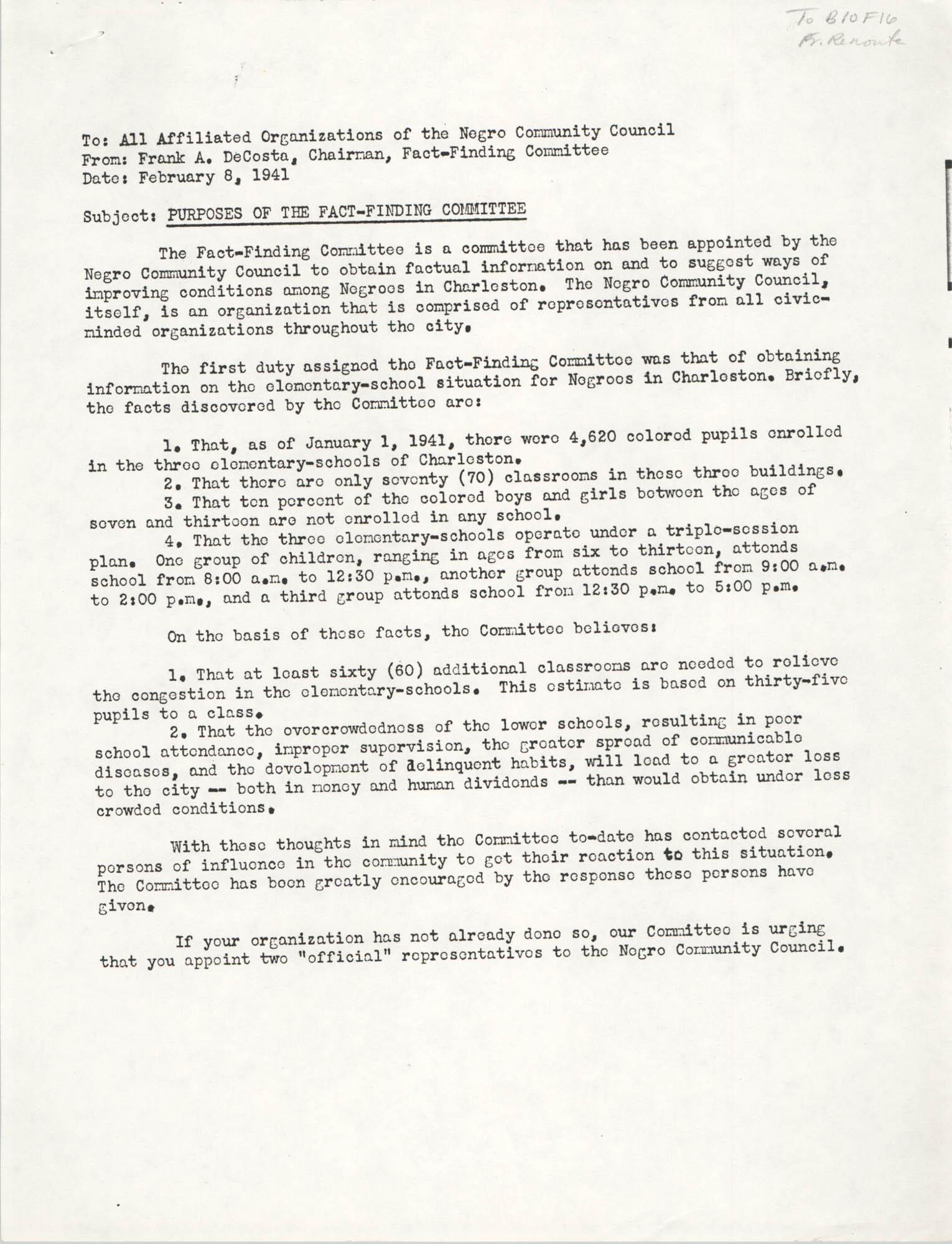 Memorandum, February 8, 1941