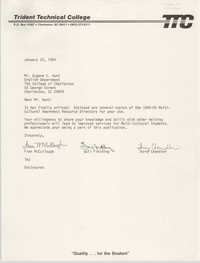 Letter from Fran McCullough, Gail Fielding, and Terry Chandler to Eugene C. Hunt, January 25, 1985