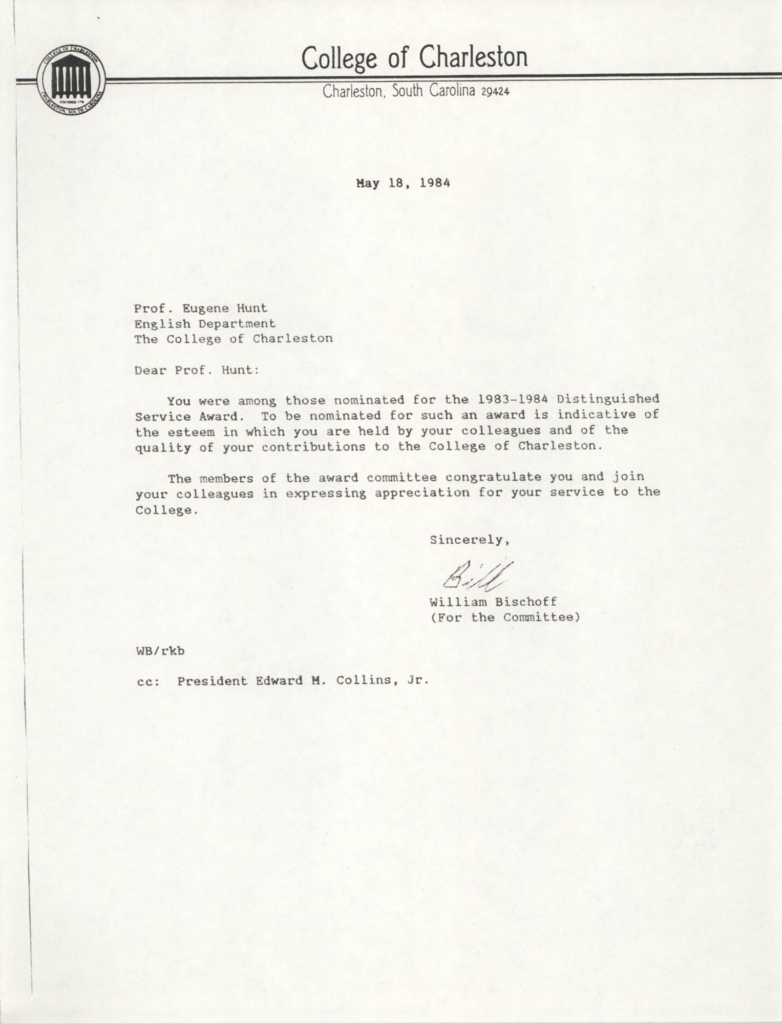 Letter from William Bischoff to Eugene Hunt, May 18, 1984