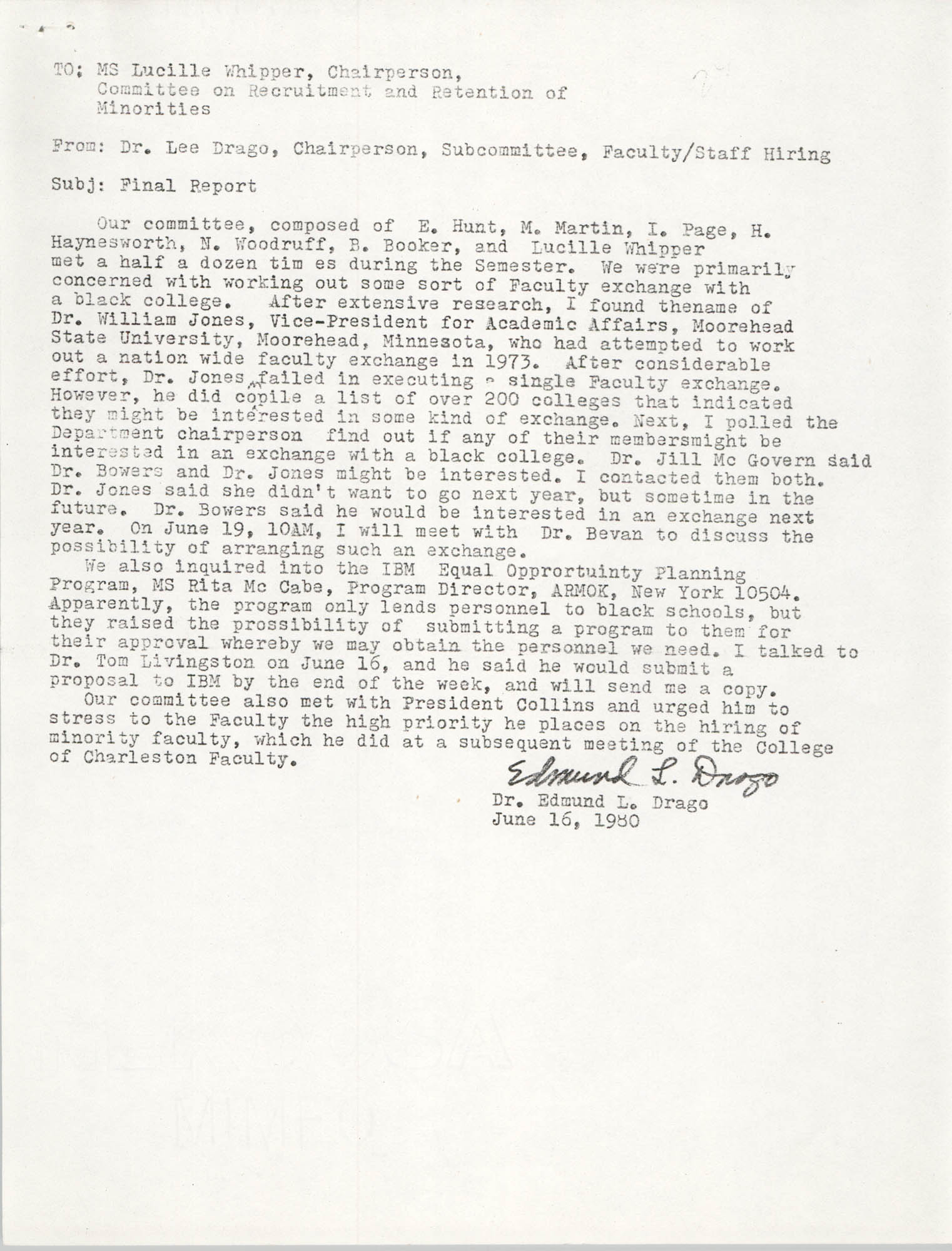 Letter from Edmund L. Drago to Lucille Whipper, June 1, 1980
