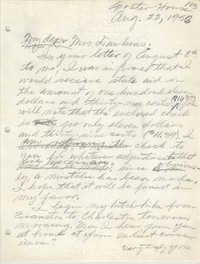 Letter from Eugene C. Hunt to Emma S. Dawkins, August 22, 1958