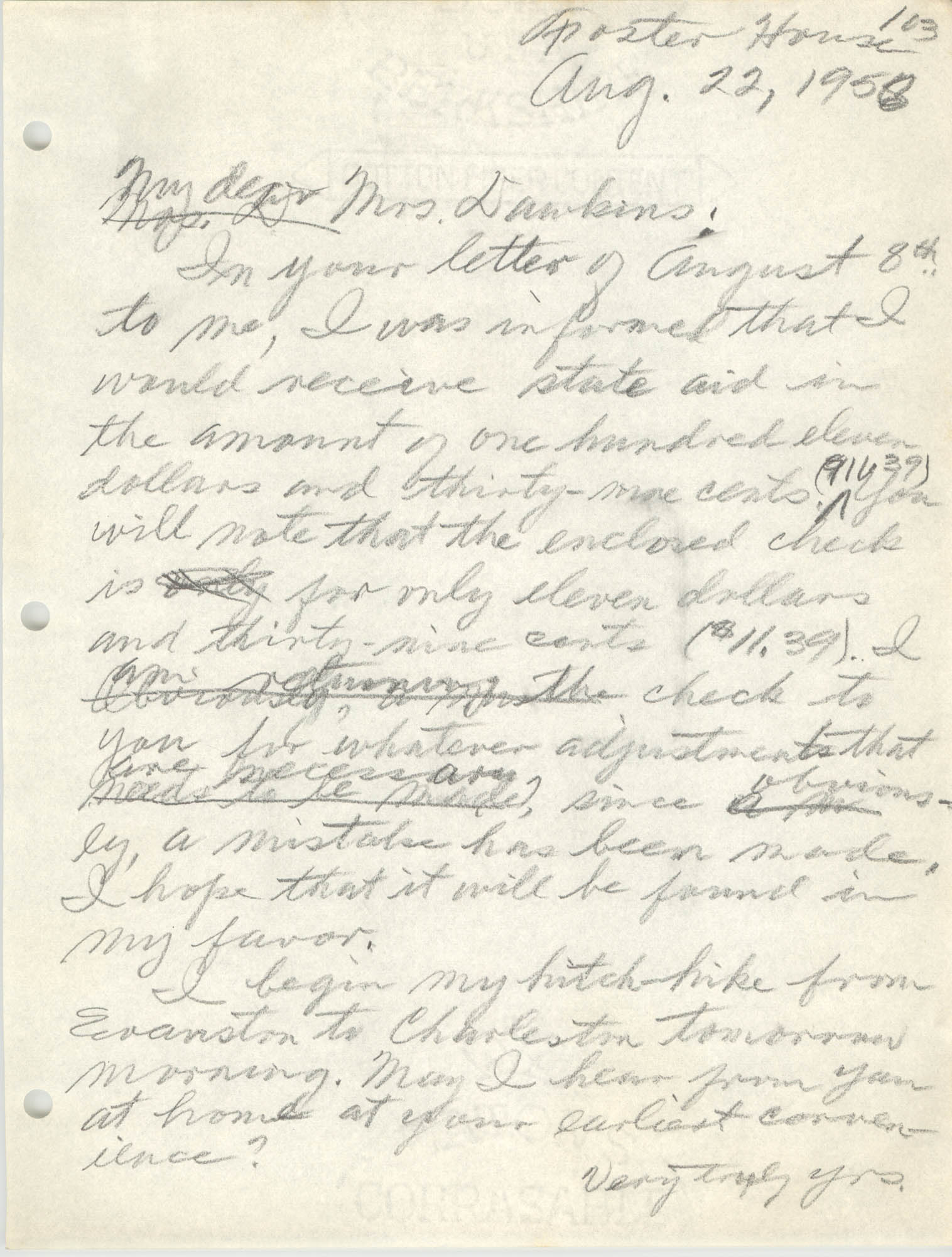 Letter from Eugene C. Hunt to Emma S. Dawkins, August 22, 1958