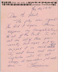 Note from Lorraine Fordham to Eugene C. Hunt, May 21, 1971