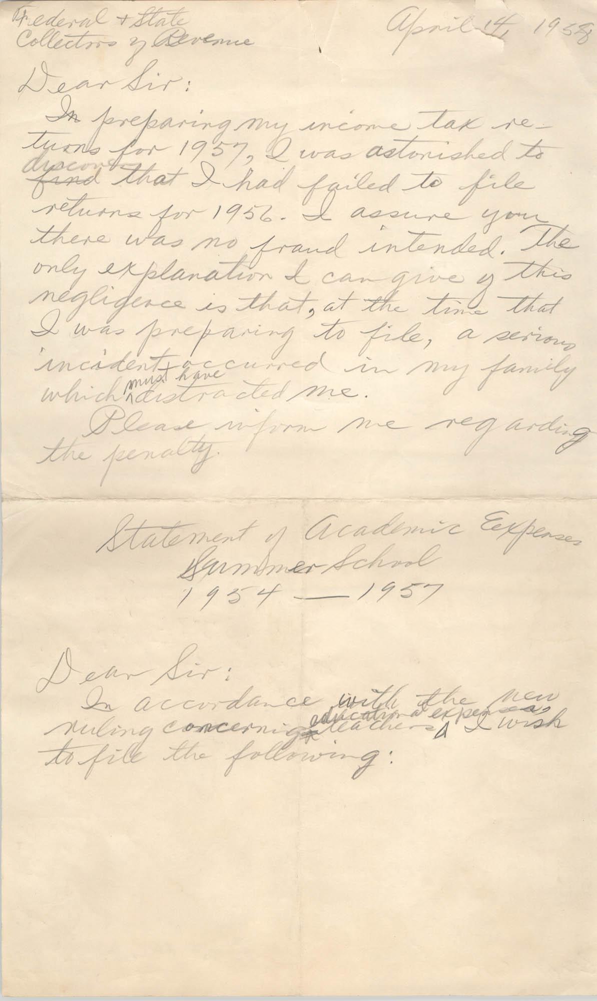 Letter from Eugene C. Hunt, April 14, 1958