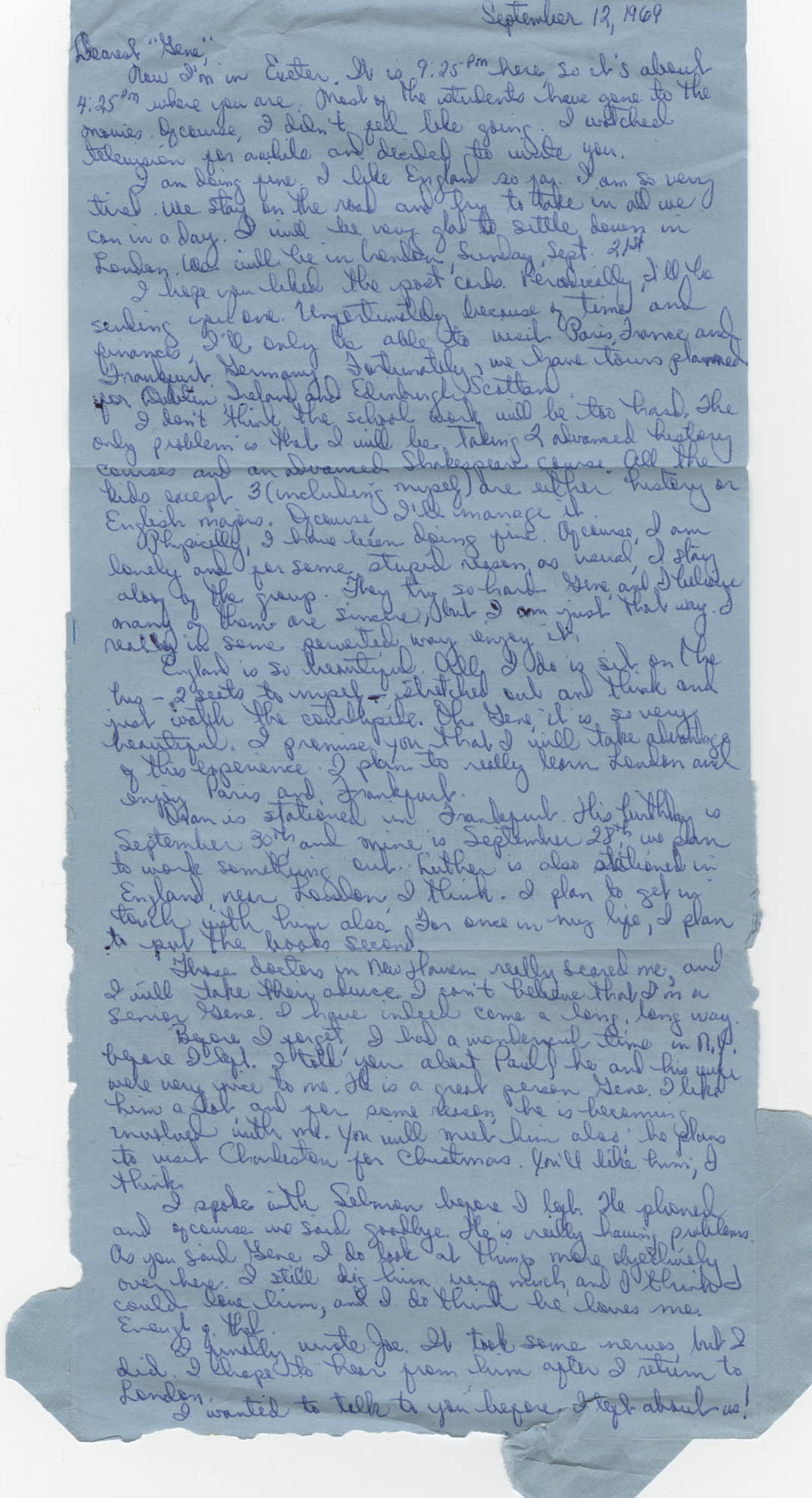 Letter from Tyrone B. Haynes to Eugene C. Hunt, September 12, 1969