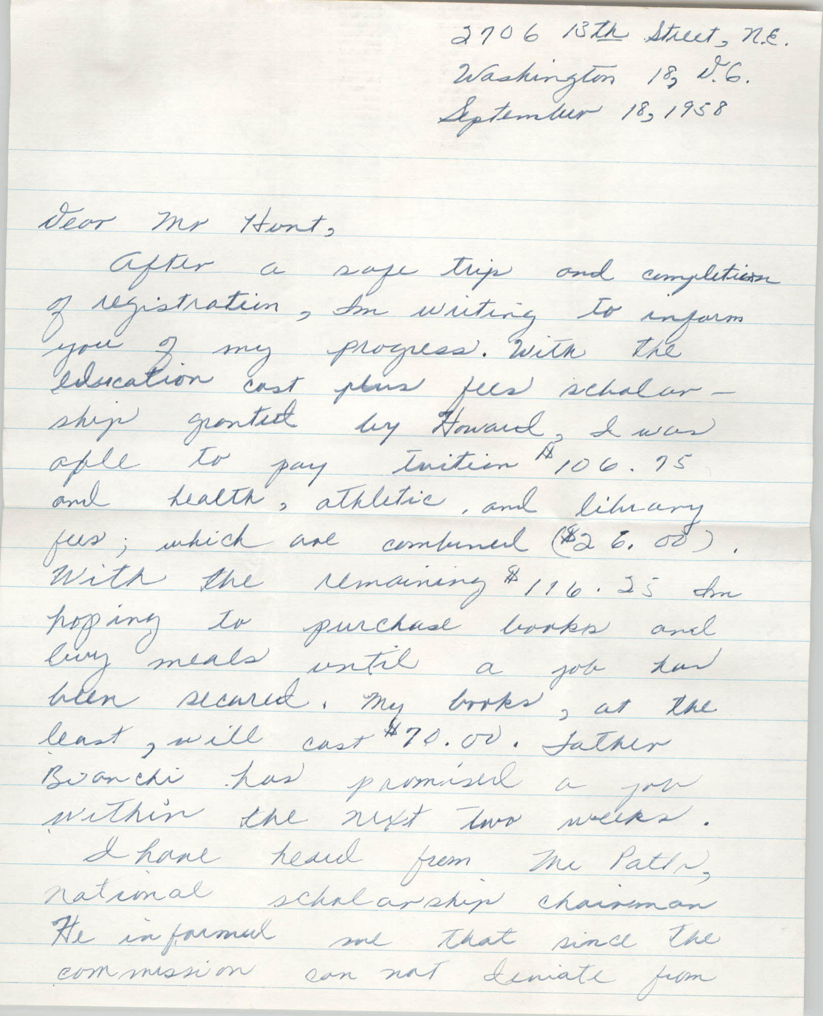 Letter from F. Henderson Moore to Eugene C. Hunt, September 18, 1958