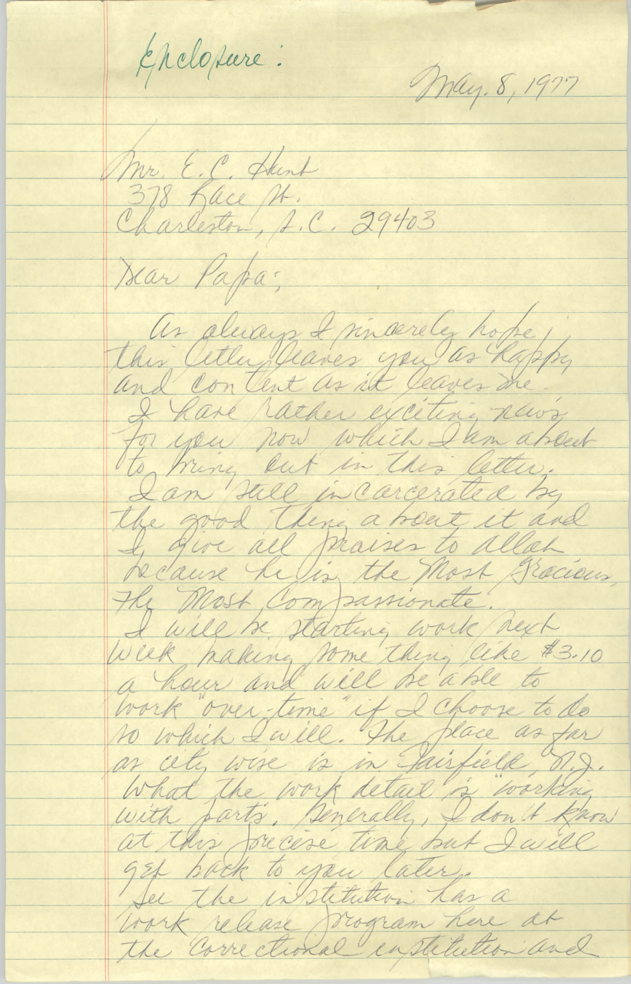 Letter Steven P. Williams to Eugene C. Hunt, May 8, 1977