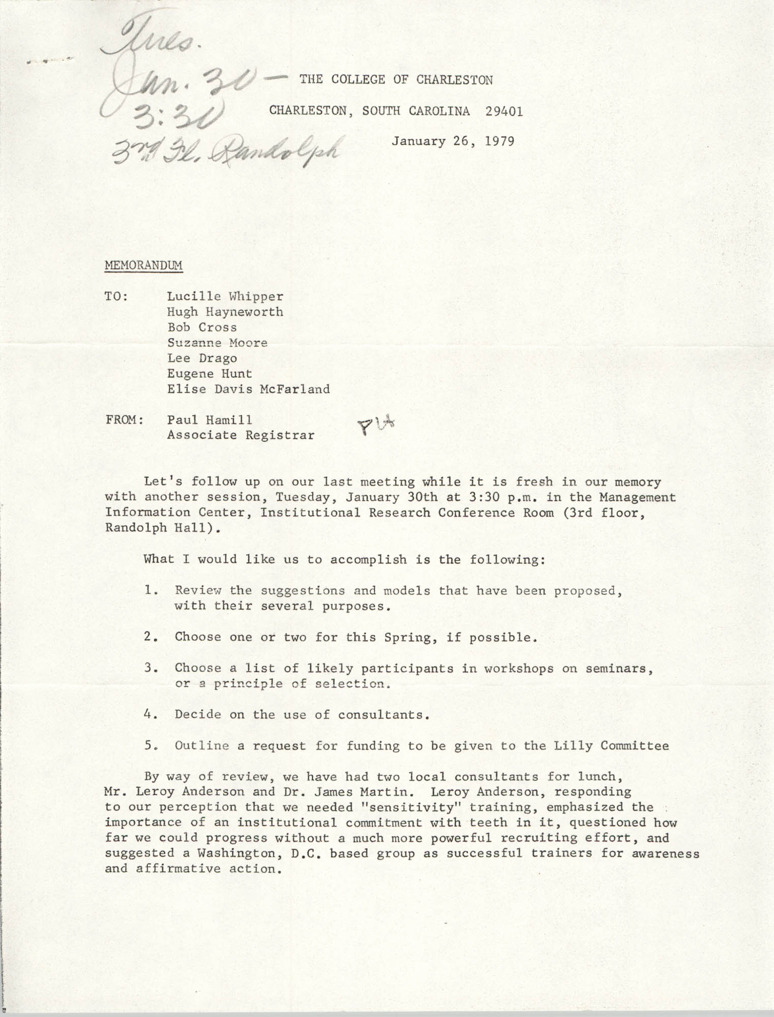 College of Charleston Memorandum, January 26, 1979