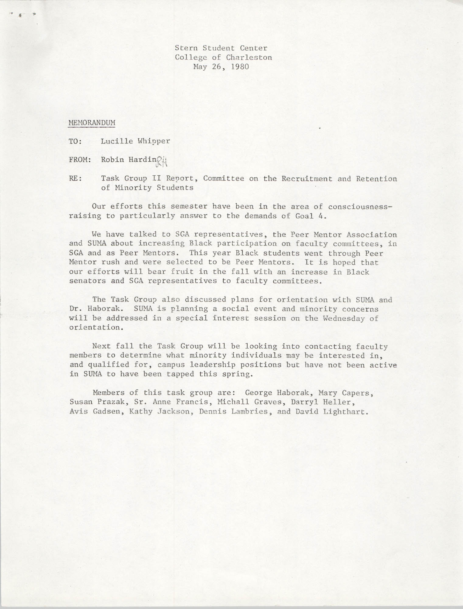 College of Charleston Memorandum, May 26, 1980