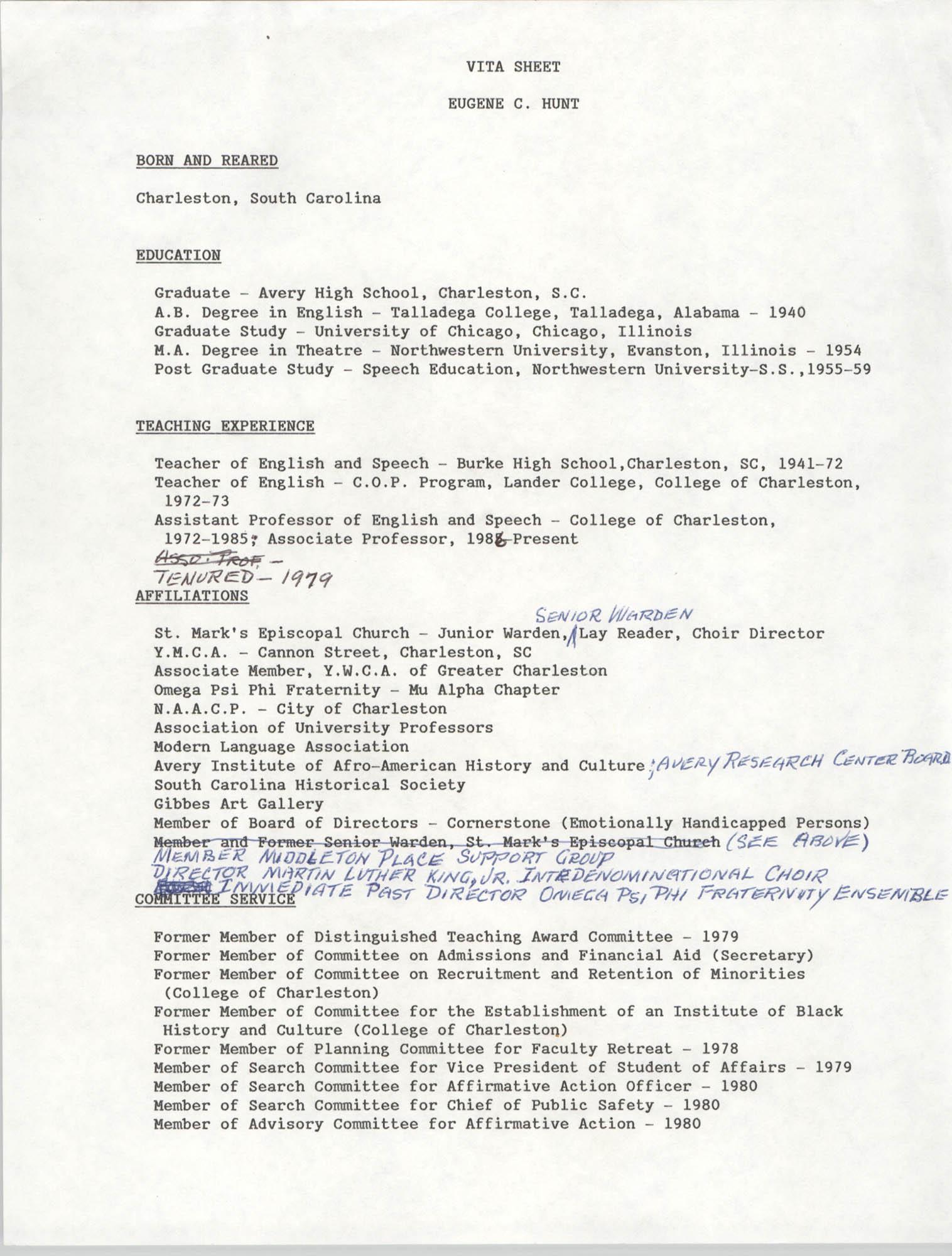 Vita Sheet, Eugene C. Hunt