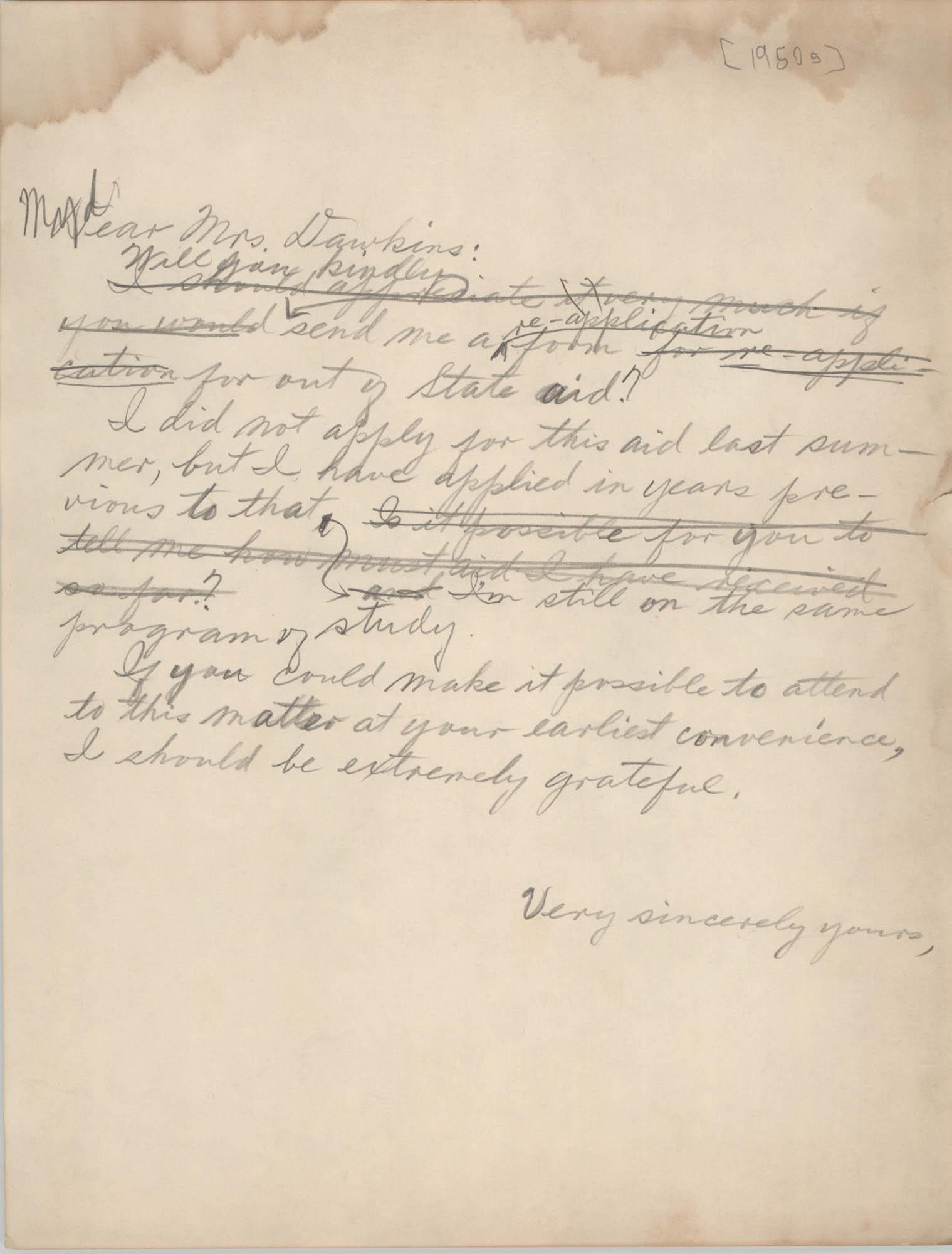 Letter from Eugene C. Hunt to