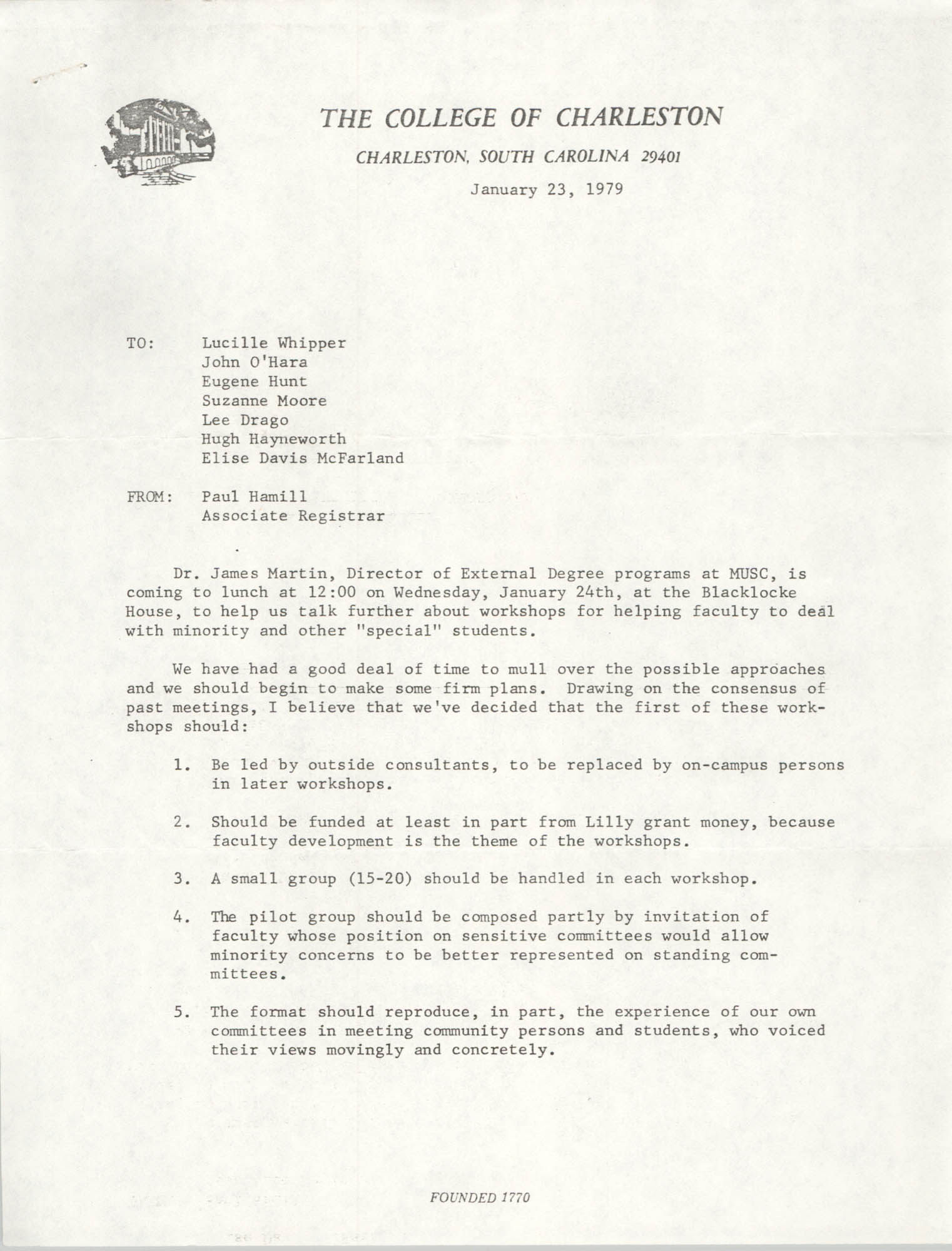 College of Charleston Memorandum, January 23, 1979