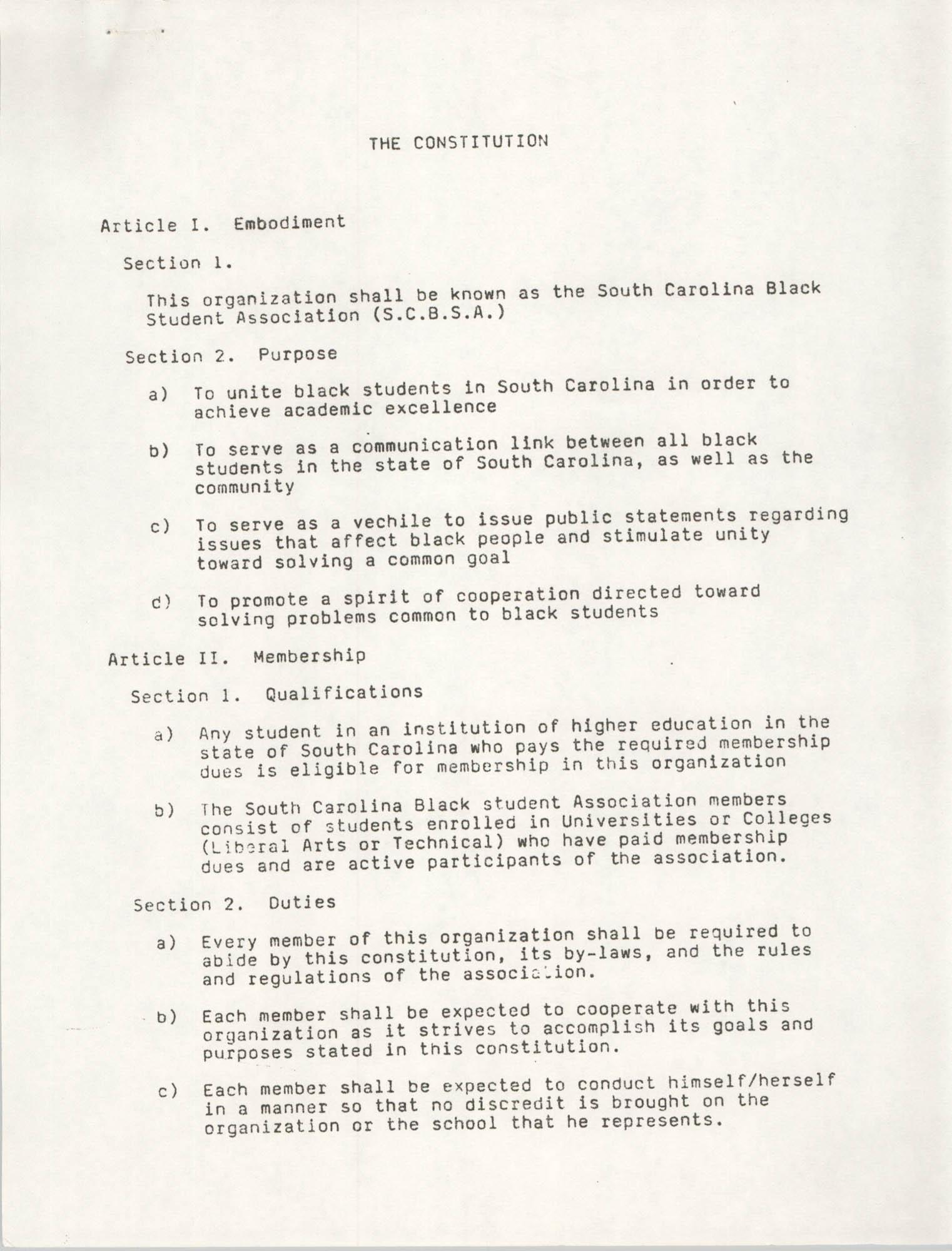 South Carolina Black Student Association Constitution