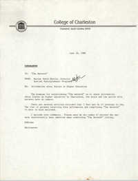 College of Charleston Memorandum, June 30, 1988