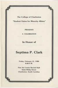 Septima P. Clark Event Program, College of Charleston, February 15, 1980