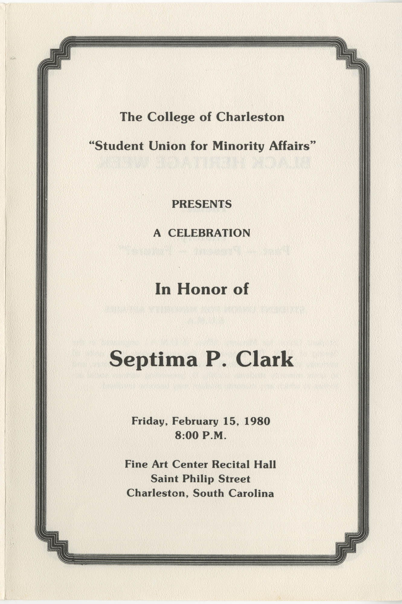 Septima P. Clark Event Program, College of Charleston, February 15, 1980