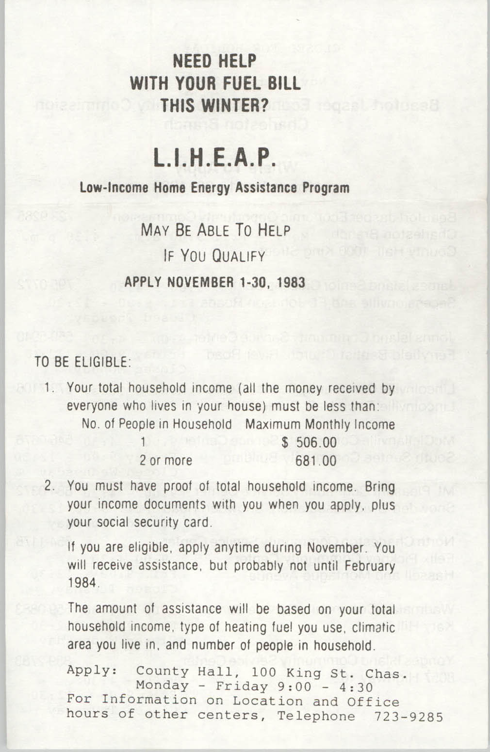 Low-Income Home Energy Assistance Program Pamphlet