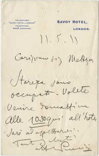 Letter from Puccini to Meltzer, May 11, 1911