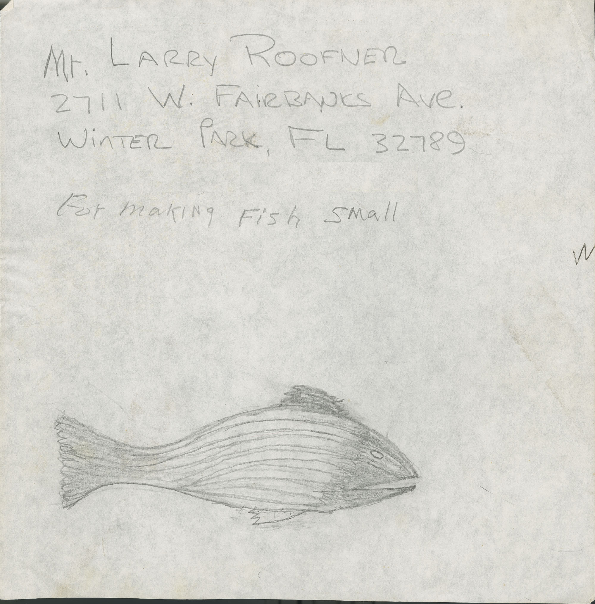 2711 West Fairbanks Avenue, Winter Park, Florida fish sketch