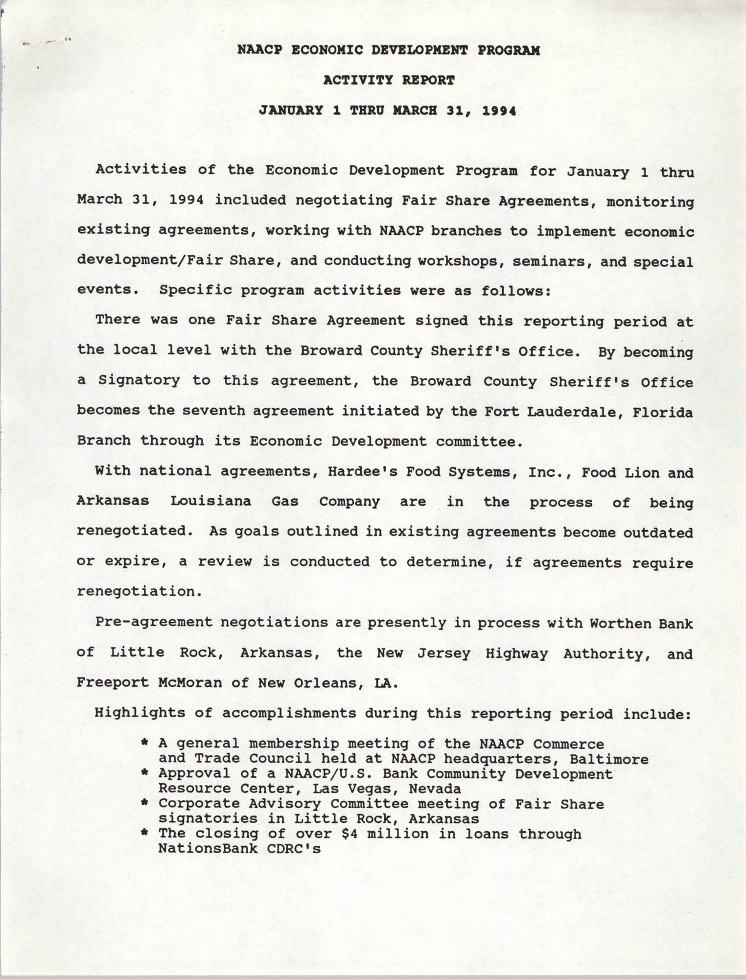 NAACP Economic Development Program Activity Report, January 1 to March 31, 1994
