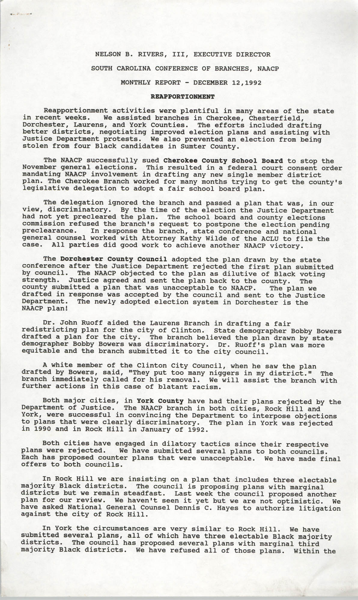 South Carolina Conference of Branches, NAACP Monthly Report, December 12, 1992